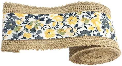 2メートル 可愛い 小花パターン ファブリック バーラップ リボン レース ロール 手作り リネン トリム 装飾 全8色 - 黄