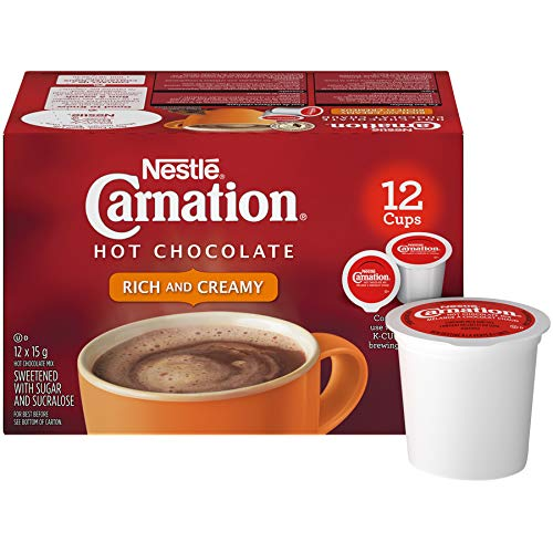 - CARNATION Rich Hot Chocolate, KEURIG K-CUP Compatible Pods, 12x15g (12 Cups)