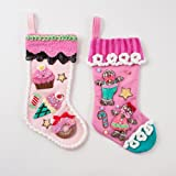 Candy & Gingerbread Man Pink Christmas Stocking Set 2
