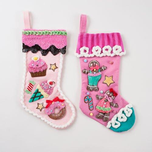 Candy & Gingerbread Man Pink Christmas Stocking Set 2