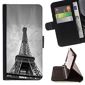 Momo Phone Case / Flip Funda de Cuero Case Cover - Arquitectura B & W Torre Eiffel desde abajo - Samsung Galaxy S5 Mini, SM-G800
