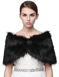Belle House Faux Fur Shawl Wrap Stole Cape for Women Bridal Shawl Winter