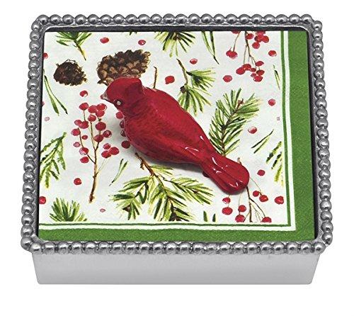 Mariposa Beaded Napkin Box with Red Cardinal Napkin Weight and Cocktail Napkins Mariposa Cocktail Napkin Holder