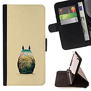 For Samsung Galaxy S3 Mini I8190Samsung Galaxy S3 Mini I8190 Cute Totoro Illustration Leather Foilo Wallet Cover Case with Magnetic Closure