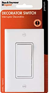 Legrand radiant 15 Amp Rocker Wall Switch, Decorator Light Switches, White, With Wall Plate, Single Pole, TM870WCCC5WP
