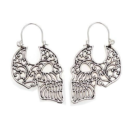 (Unisex 925 Sterling Silver Plated Hollow White Skull Earring Human skeleton Head Charm Lever-back Dangle Earrings)