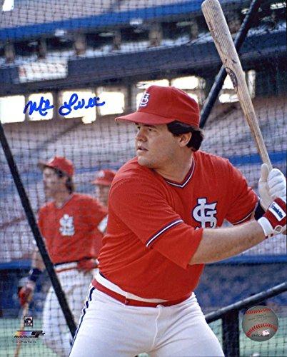 (Mike Lavalliere Autographed/ Original Signed 8x10 Color Photo Showing Him w/ the St. Louis Cardinals)
