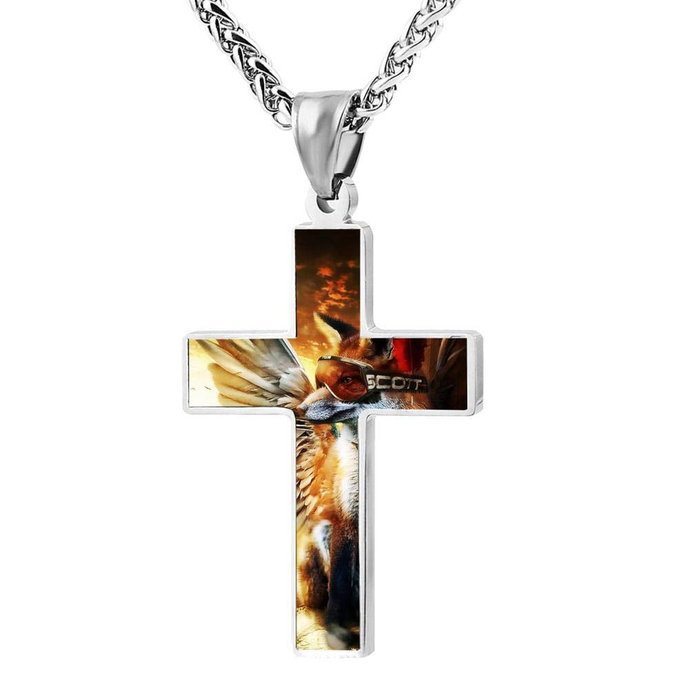 Brniogn Cross Necklace,Funny Flying Fox Print Pattern Prayer Christ Necklace Pendant Custom 24 Inch