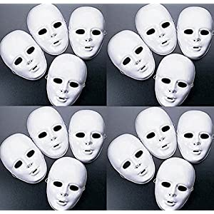 MASKS White Plastic Full Face Decorating Craft Halloween School