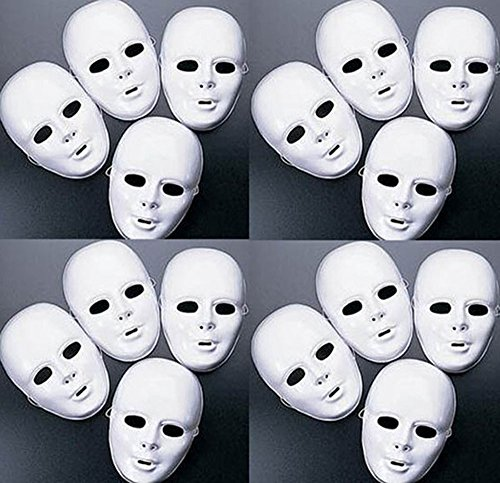 White Mask Halloween (Lot of 24 MASKS White Plastic Full Face Decorating Craft Halloween School)