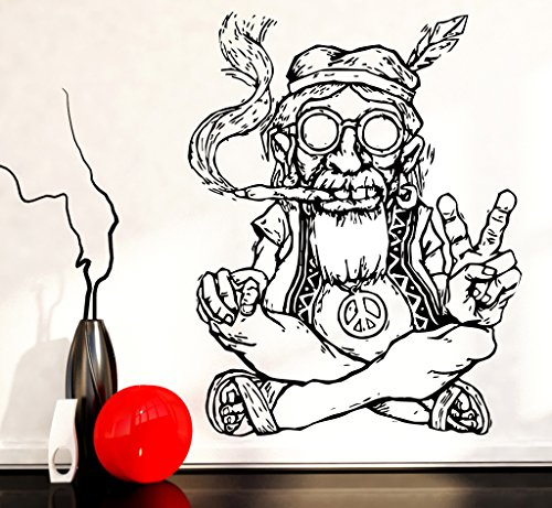 Vinyl Decal Wall Sticker Hippie In Glasses Smoking Weed Marijuana Peace Symbol Ethnic Decor (z2173) S 11 in X 16 in -