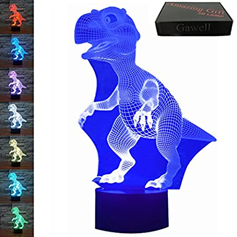 3D Illusion Lamp Gawell Dinosaur Visual Effect Night Light 7 Colors Glows With Smart Touch Switch USB Cable Creative Gift Toys (Horse Tooth Necklace)