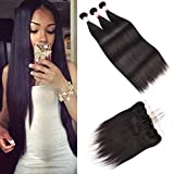 Bleaching Hair Mixed With Conditioner - Brennas Brazilian Virgin Hair Straight 3 Bundles Deals 20 22 24 Inches 300 Gram with 18 inch ear to ear 13x4 Lace Frontal 8A 100% Unprocessed Human Hair Extensions Natural Color