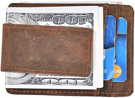 Woogwin Money Clip Slim Wallet Leather Mini Front Pocket Wallet RFID Blocking
