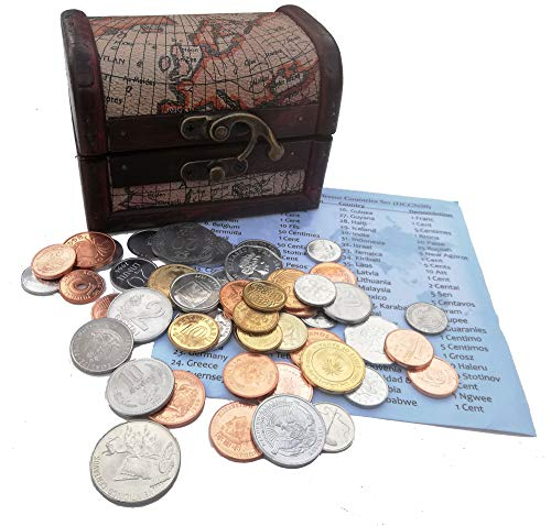 World Coins - Coin Collection - 50 Coins of 50 Different World Countries + Wooden Treasure Chest