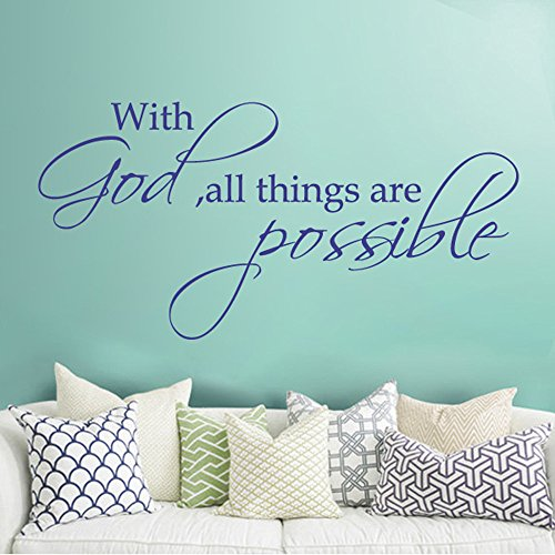 MairGwall With God All Thing Are Possible Removable Faith Wall Decal Bible Verse Wall Sticker Quotes Inspirational Living Room Vinyl Wall Words Art£¨X-Large,Whi