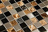 Stainless Steel + Stone Mix Mosaic - Sepia - 12x12''