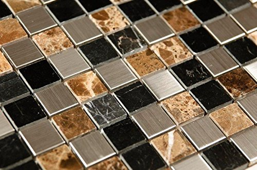 Stainless Steel Interlocking Pebble Floor Tile | Kitchen, Bathroom, and Patio Flooring | Indoor and Outdoor Use | Triple Color Mix Mosaic| Quick and Easy Grout Installation (Designs Mosaic Pebble Patio)