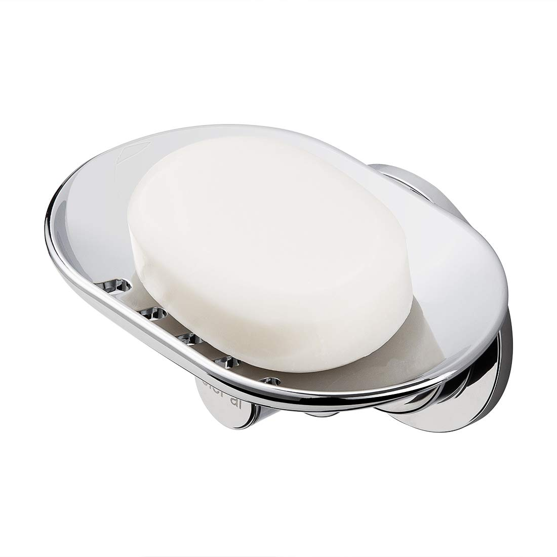 JiePai Suction Soap Dish,Super Powerful Vacuum Suction Shower Soap Holder with Hooks,Elegant Suction Cup Soap Holder for Bathroom & Kitchen,Chrome