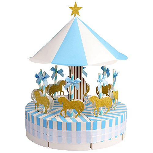 Aytai Carousel Baby Shower Candy Favor Boxes Unicorn Party Supplies Candy Bag Gift Box Table Centerpiece for Wedding Birthday Decorations (Blue)