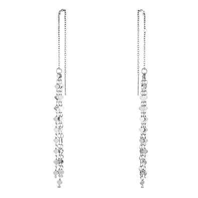 SHEGRACE 925 Sterling Silver Asymmetric Thread Earrings Platinum for Woman uVASVd