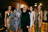 Vintage photo of Paco Rabanne backstage with Adriana Sklenarikova and other models. 1999.