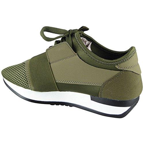 Damen Laufen Gym die Sportarten Spitze Oben Schuhe Größe 36-41 Grün / Weiß
