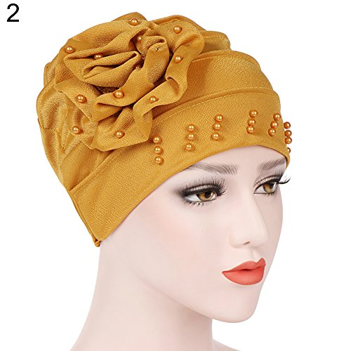 (Mosichi Women Flower Floral Beads Head Wrap Hat Turban Muslim Hijab)