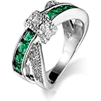 Sumanee Jewelry Wedding Ring White Gold Filled Green Emerald Criss Cross (8)