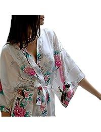 Womens Medium Length Silk Kimono Robes with Floral Print and Pockets