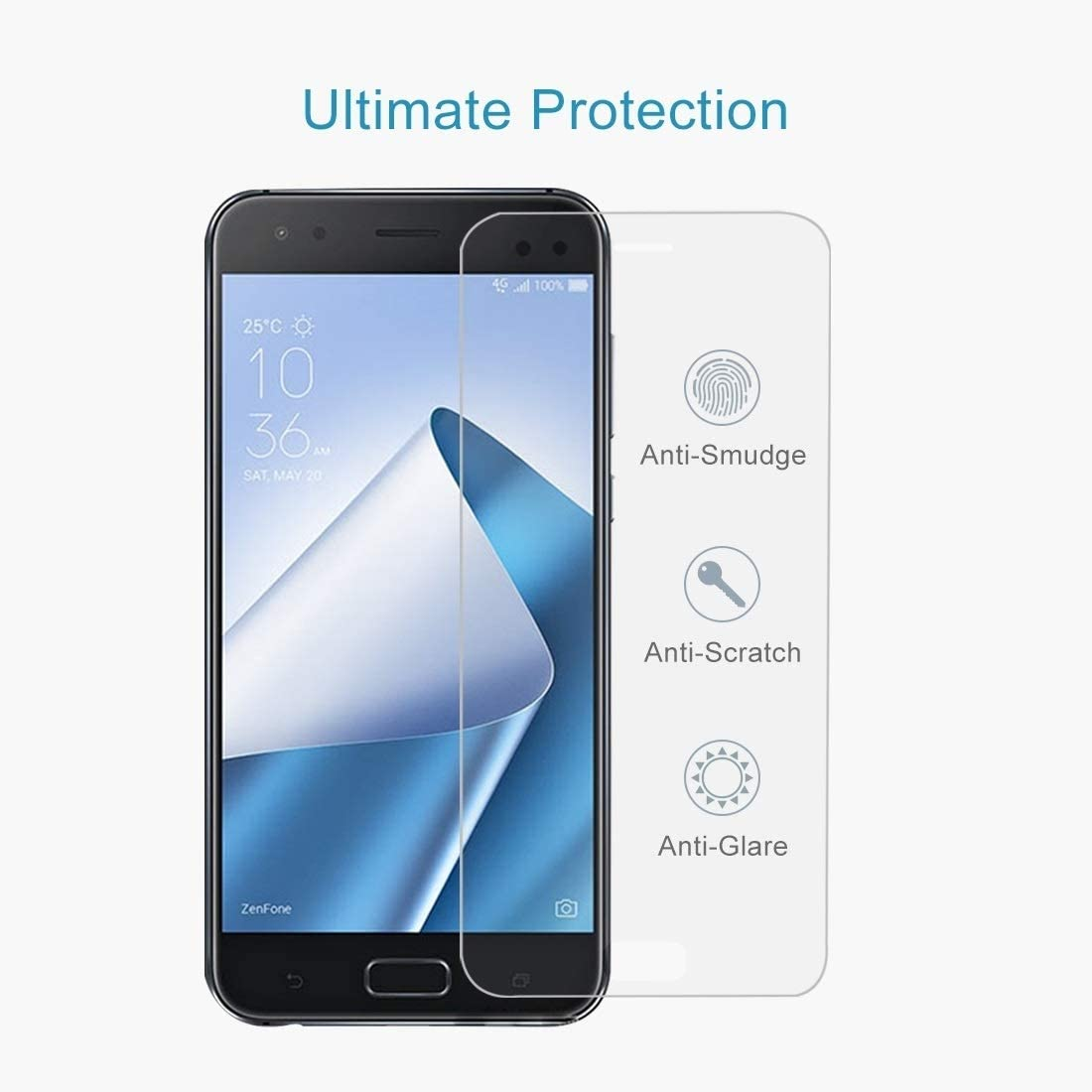 HAIJUN Phone Screen Film 50 PCS 0.26mm 9H 2.5D Tempered Glass Film for Asus ZenFone 4 ZE554KL Anti-Scratch Tempered Glass
