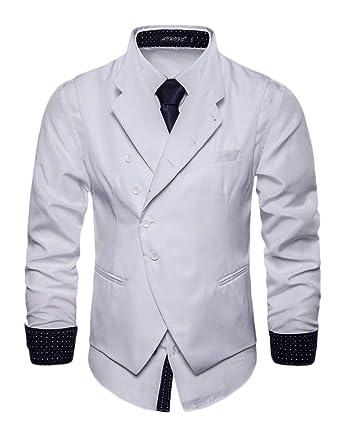 Hombre Solapa Chaleco De Traje Blazers Waistcoat Sin Manga Color ...