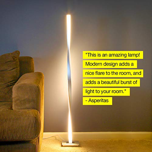 Brightech Helix LED Floor Lamp for Living Rooms - Get Compliments: Modern Standing Pole Light for Bedrooms & Offices - Bright & Dimmable - Contemporary 48 Inch Tall Lamp - Platinum Silver by Brightech (Image #6)
