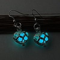 Fashion Women Earrings Glow In Dark Hollow Out Gift Valentine Day Jewelry Heart (green blue)