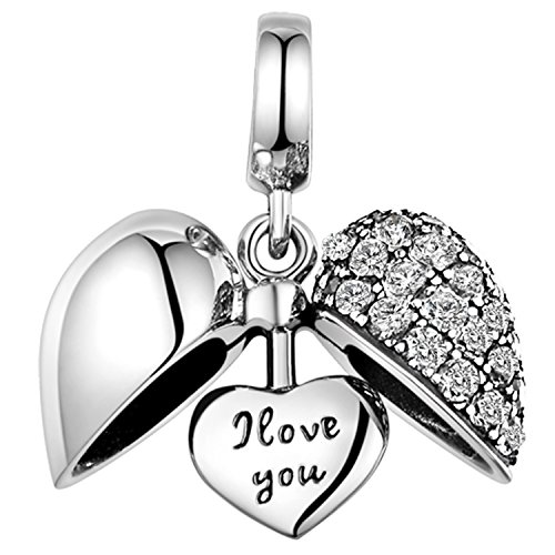 925 Sterling Silver Charm - Love Heart Crystal Bead for Pandora Bracelet - White