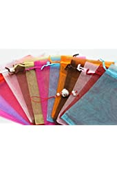 Islandoffer 100 Organza Mixed Colors Jewelry Pouch Bags Display 4 X 5 Inches