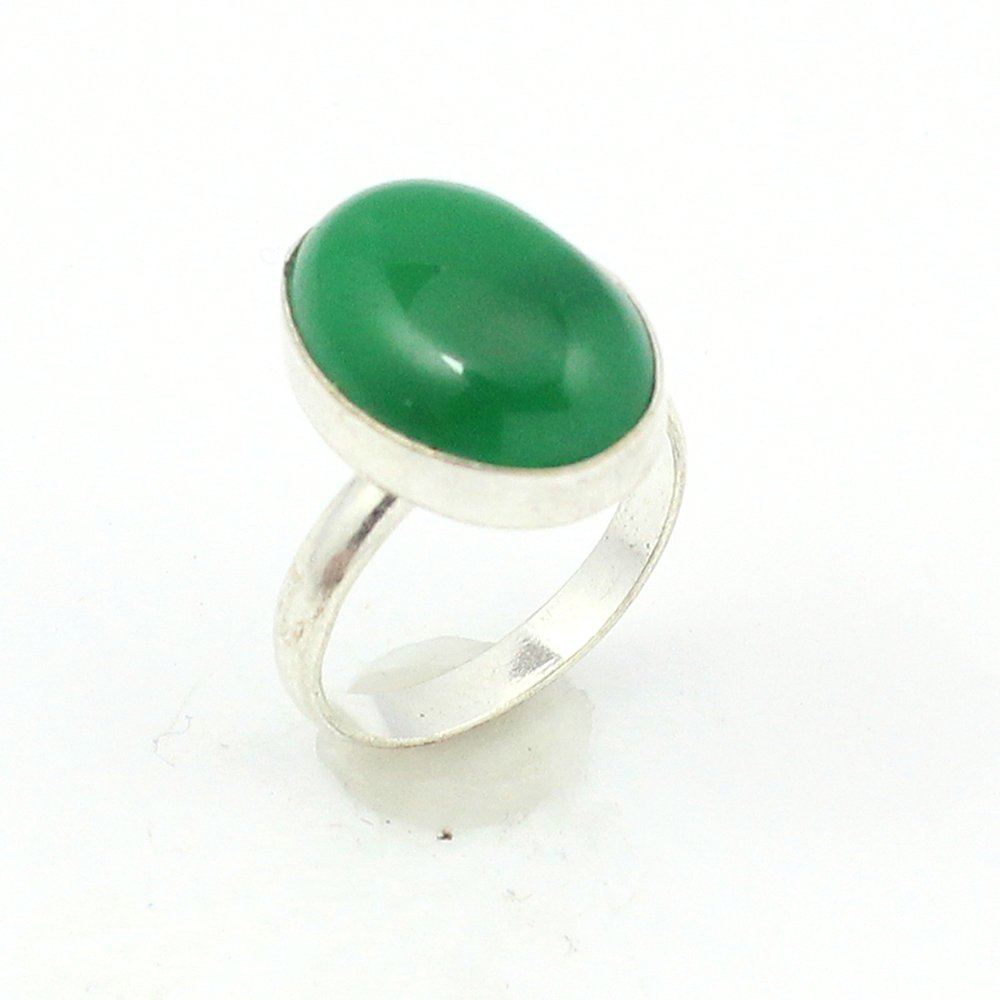 BEST QUALITY GREEN ONYX FASHION JEWELRY .925 SILVER PLATED RING S12644