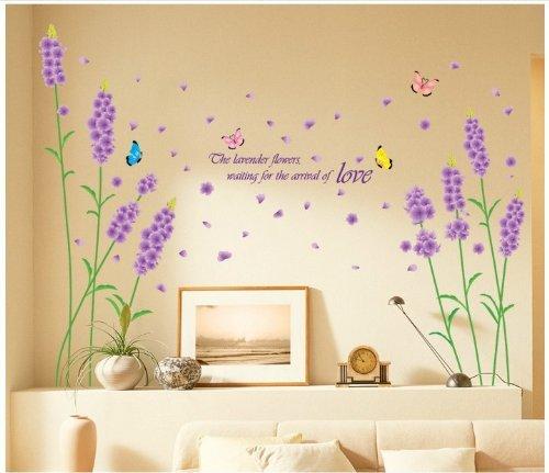 DZT Beautiful Large Long Stem Lavender Flowers with Butterfl