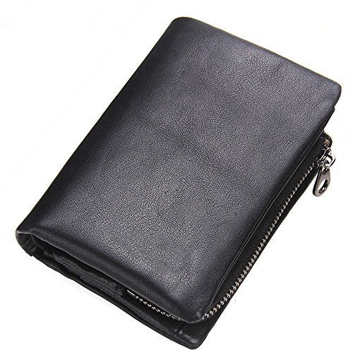 wallet man hollow removable black Laser leather button NHGY magnetic wallet zero xzq5aEO