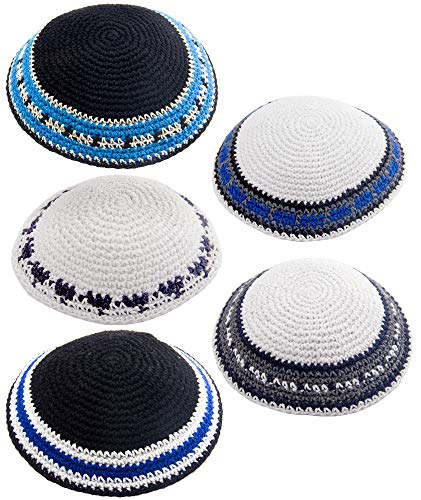 HolYudaica Pack of 5-Pcs – Hq 17cm Mix Colors & Sizes Handmade Knitted Kippah for Men Boys and Kids, Yamaka Hat from…