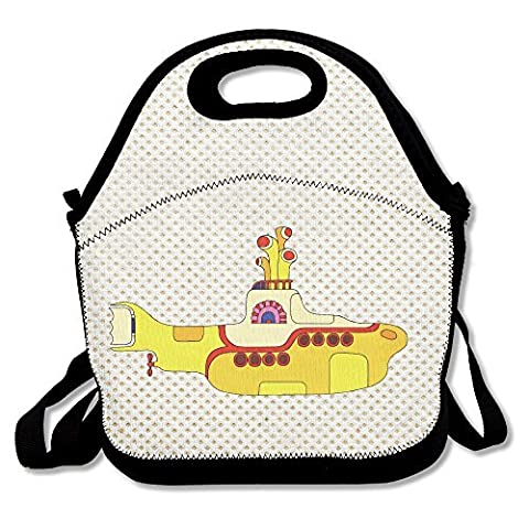 Amurder The Beatles LEGO Yellow Submarine Insulated Personalized Tote Lunch Food Bag Black (The Beatles Lego)
