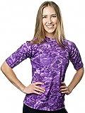 Aqua Design Women UPF 50+ Short Sleeve Comfort Fit Rash Guard Swim Surf Shirt,Liquid Purple,X-Large