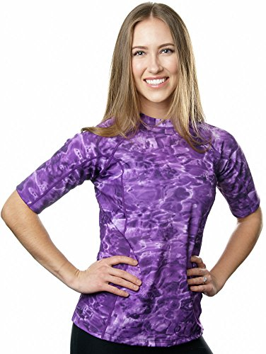 Aqua Design Women UPF 50+ Short Sleeve Comfort Fit Rash Guard Swim Surf Shirt,Liquid Purple,XX-Large