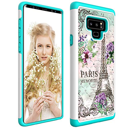 KAPADSON for Samsung Galaxy Note 9 Newest 2 in 1 Hybrid TPU+ Slim Shockproof Floral Printing Design Flexible Rugged Armor Hard Protective Cover Case - Paris Tower (Paris Samsung 2 Note Case)