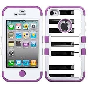 One Tough Shield ? 3-Layer Hybrid Design phone Case (White/Purple) for Apple iPhone 4 4s - (Piano B/W)