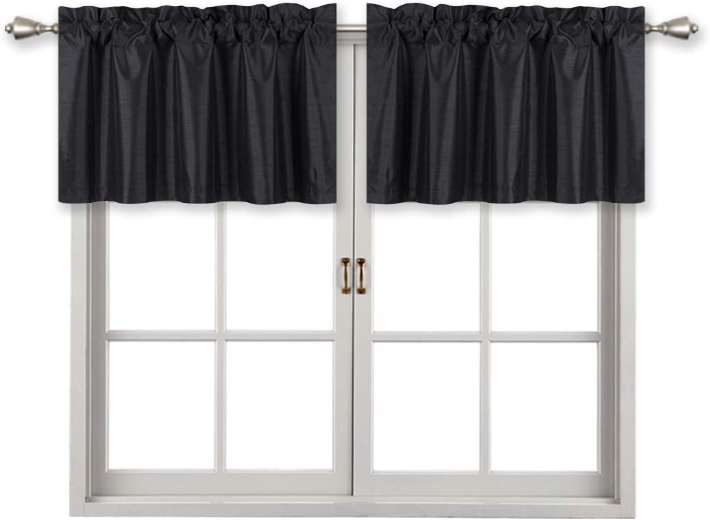 Home Queen Solid Rod Pocket Blackout Curtain Valance Window Treatment for Living Room, Short Straight Drape Valance, 2 Pieces, 94 cm x 46 cm (37 X 18 Inch), Black