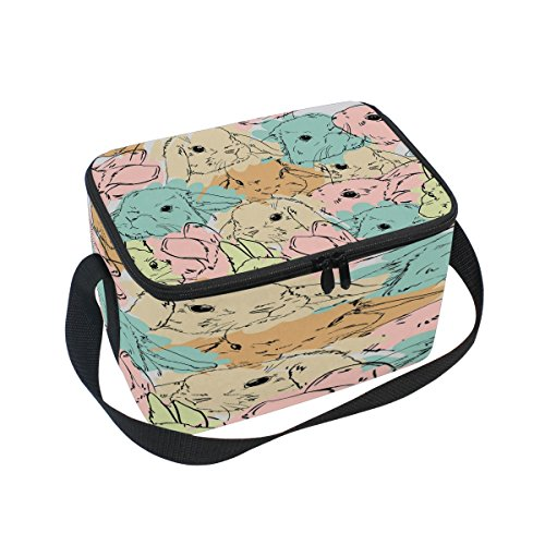 Use4 Watercolor Rabbit Bunny Easter Insulated Lunch Bag Tote