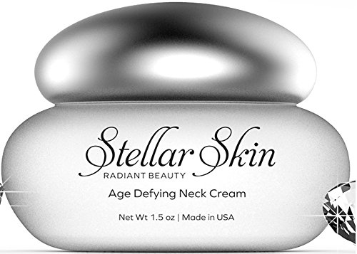 Neck Cream and Moisturizer - Contains Hyaluronic Acid, Best Skin Moisturizer to Reduce Fine Lines & Wrinkles in the Neck and Chest, Anti Aging Skin Care Products from Stellar Skin, 1.5 oz
