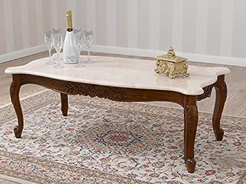 Simone Guarracino Wohnzimmertisch Couchtisch Italienisch Barock Stil Walnuss  Marmor Farbe Creme