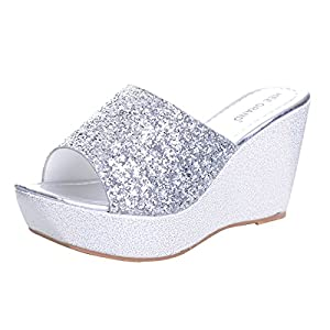 12ebb4db2bed68 ... Yellow Tree Company Sequined Bling Women Wedges Slides Sandals